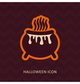 Halloween witch cauldron silhouette icon vector image