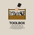 Hand Holding A Mechanic Toolbox vector image