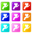 hand holding heart icons 9 set vector image vector image