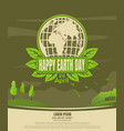 happy earth day vintage poster country landscape vector image vector image