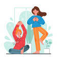 home yoga meditation girl friends vector image vector image