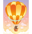 Hot air balloon with brown bunny vector image