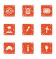 livelihood icons set grunge style vector image vector image