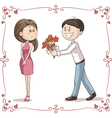 Man Brings Flowers to Shy Woman Cartoon vector image vector image