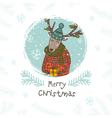 merry christmas deer with gift vector image