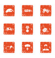 military court icons set grunge style vector image