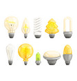 modern bulbs collection idea lamp lighting vector image vector image