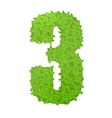 Number 3 consisting of green leaves vector image