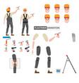 plasterer profession worker character for vector image vector image