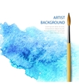 Realistic brush on blue watercolor background vector image