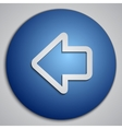 round blue left arrow button made as paper cut vector image vector image