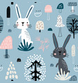 seamless childish pattern with rabbits in forest vector image vector image