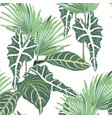seamless pattern light green colors palm leaves vector image vector image