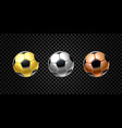 set 3d realistic football ball in golden vector image vector image