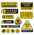 set covid19 2019 danger signs coronavirus vector image
