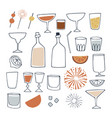 set hand drawn alcoholic and non alcoholic vector image