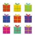 set nine different colorful gift boxes for the vector image