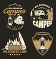 set of happy camper outdoor adventure symbol vector image vector image