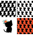 set of seamless cat pattern and kitty silhouette vector image vector image