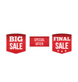 set red banner special offer vector image vector image