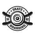 skateboarding emblem with wheel and decks vector image vector image