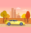 sportscar passing city center in autumn vector image vector image
