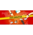 stop corruption bribe corrupt hands offering money vector image