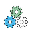 three gears different colors icon image vector image vector image