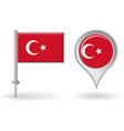 Turkish pin icon and map pointer flag vector image vector image