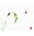 two cicadas and bamboo branch on rice paper vector image vector image