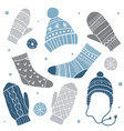 winter clothes set with cute socks hats vector image vector image