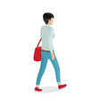 woman in trousers gray sweater red sack vector image