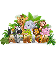 Word Africa with funny cartoon wild animal vector image vector image