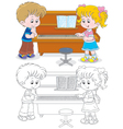 Children play a piano vector image