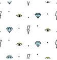 doodle hipster lightning eye and diamond seamless vector image