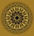 gold circle mandala in optical art style for vector image