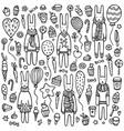 a set cute doodle rabbits vector image