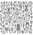 a set cute doodle rabbits vector image vector image