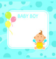 baboy shower invitation template cute blue vector image