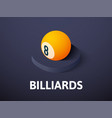 billiards isometric icon isolated on color vector image vector image