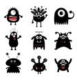 Black monster big set Cute cartoon scary vector image