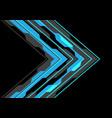 blue arrow polygon circuit light on black vector image vector image