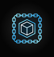 chain with cube blue line icon blockchain vector image vector image