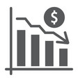 chart glyph icon finance and banking decrease vector image