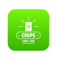 chips icon green vector image