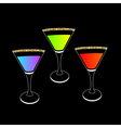 Cocktail set in martini glass Party card Glowing vector image vector image