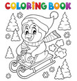 coloring book sledging penguin theme 1 vector image vector image