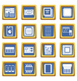 computer chips icons set blue vector image vector image