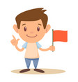 cute elementary school boy or student holding red vector image vector image