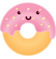cute intelligent donut character cartoon vector image